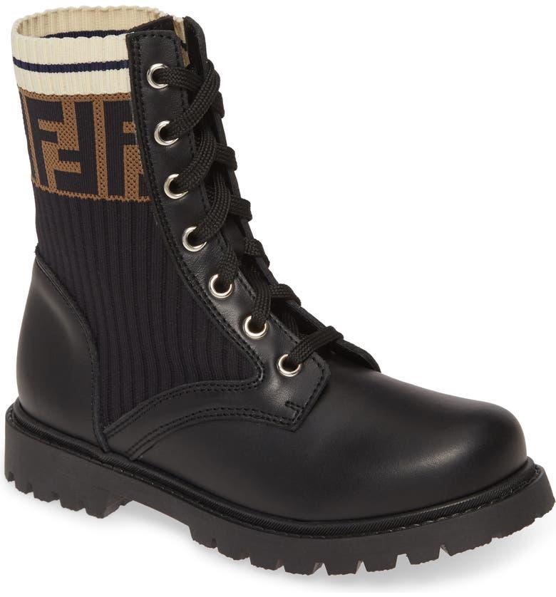 FENDI Lace-Up Boot, Main, color, BLACK