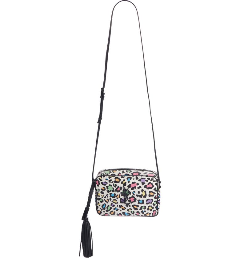 SAINT LAURENT Lou Leopard Print Leather Crossbody Bag, Main, color, WHITE MULTI