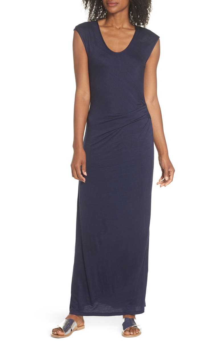 FRAICHE BY J Ruched Jersey Maxi Dress, Main, color, NAVY