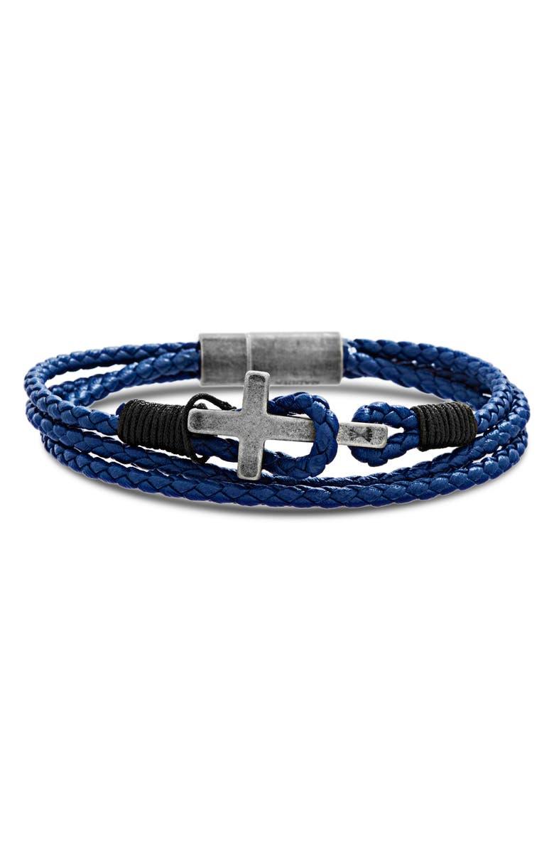 STEVE MADDEN Braided Leather Cross Bracelet, Main, color, BLUE