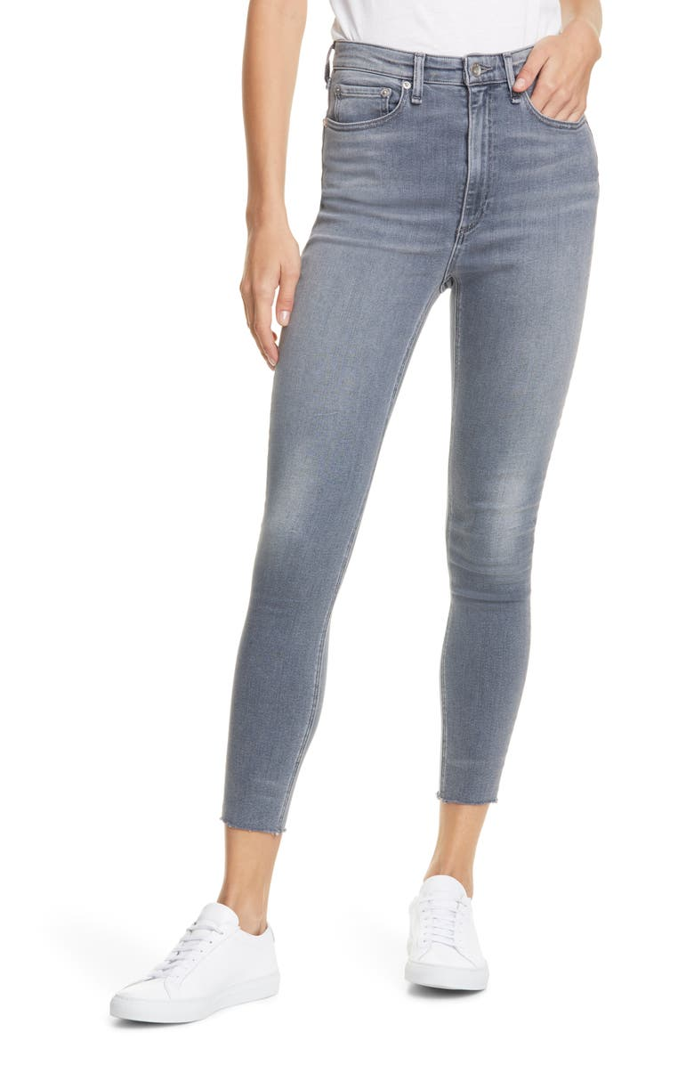 RAG & BONE Jane Super High Waist Raw Hem Ankle Skinny Jeans, Main, color, DEXTER