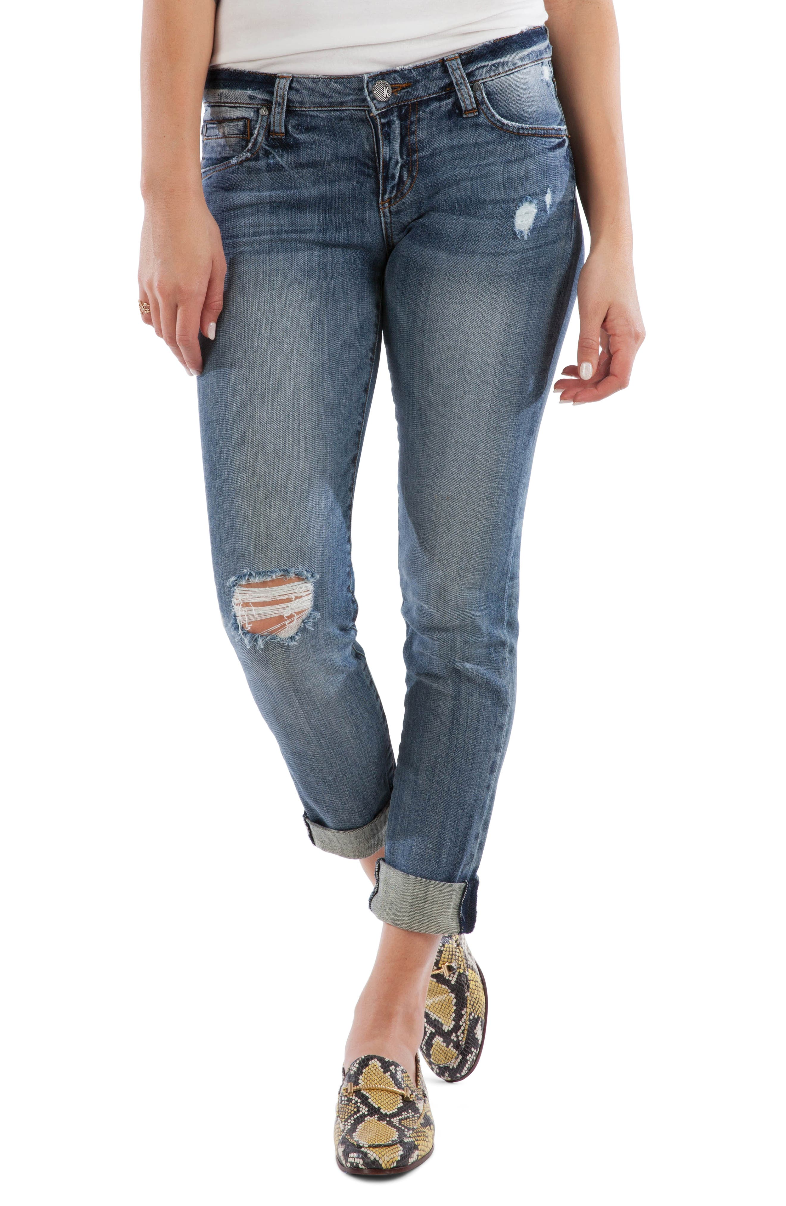KUT from the Kloth Catherine Ripped Boyfriend Jeans (Commit)