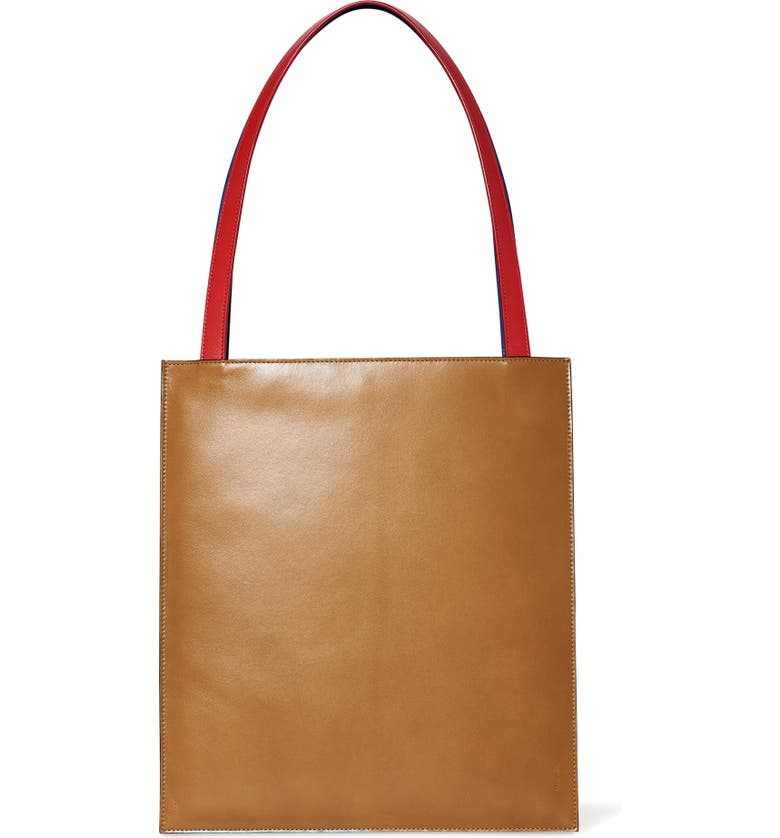 THE ROW Flat Leather Tote, Main, color, BROWN TEAL - POPPY RED