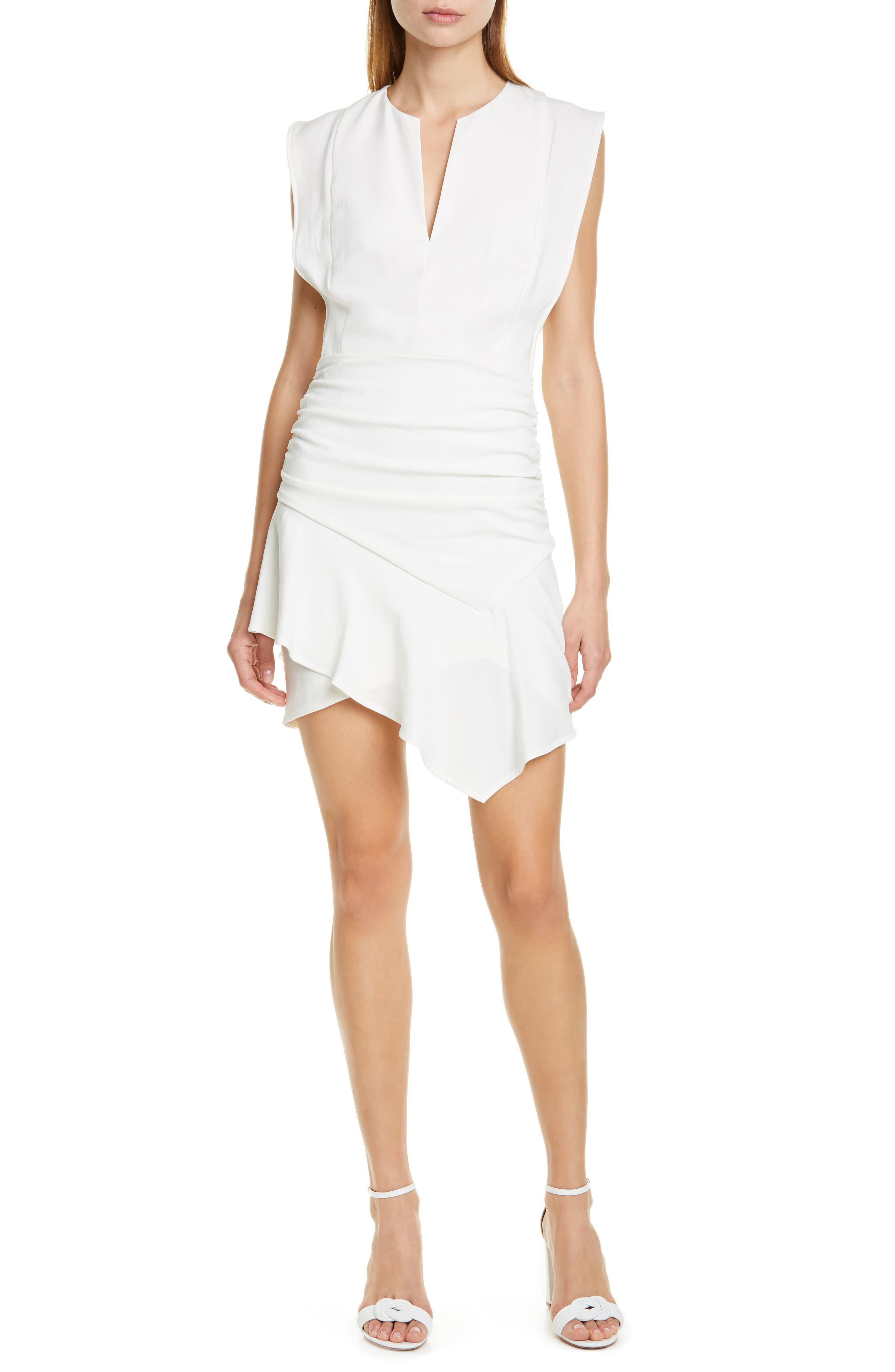 Ba & sh Jess Asymmetrical Minidress, Ivory