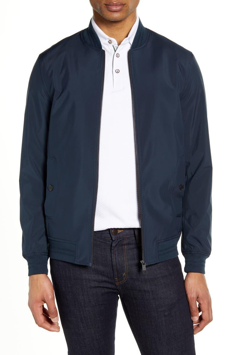 TED BAKER LONDON Hannon Slim Fit Bomber Jacket, Main, color, NAVY