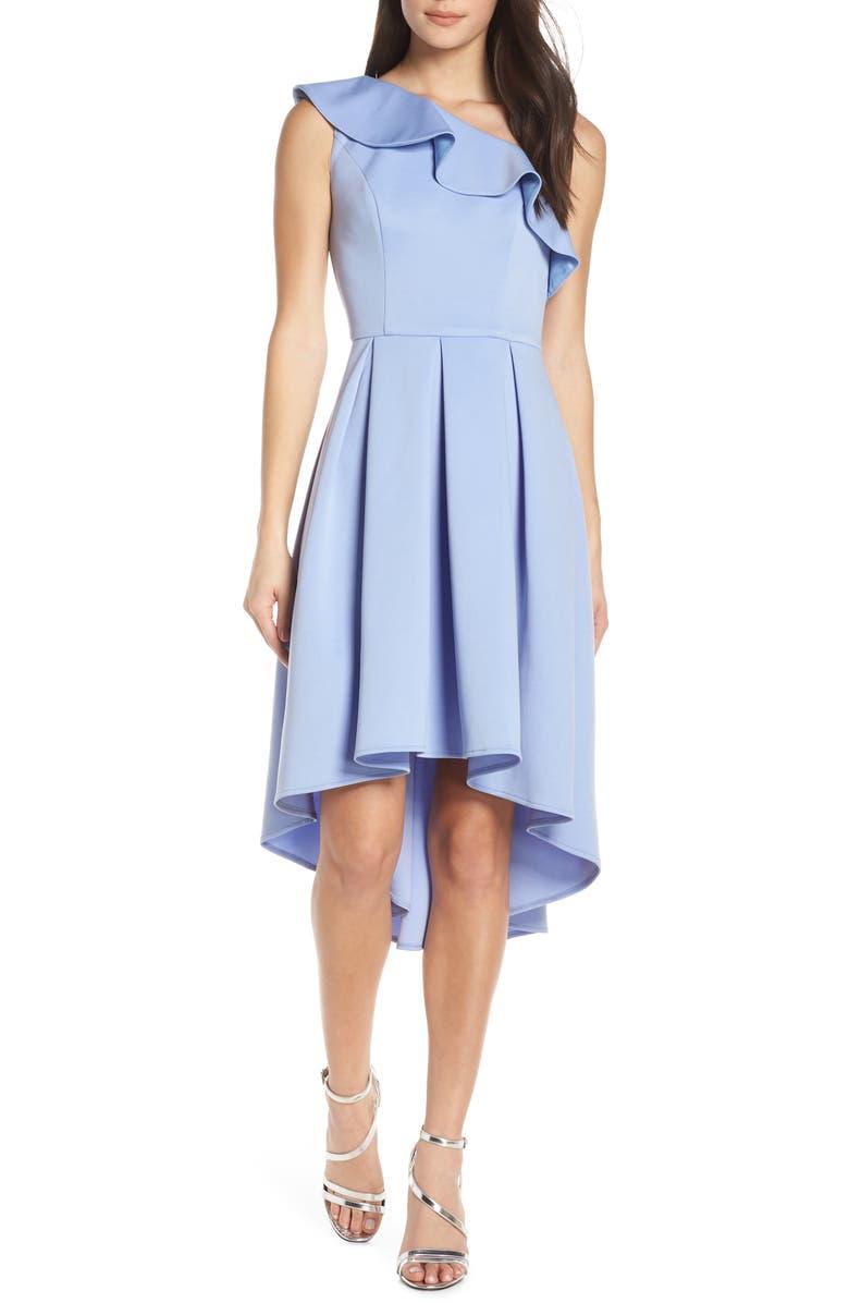 CHI CHI LONDON One-Shoulder High/Low Cocktail Dress, Main, color, BLUE