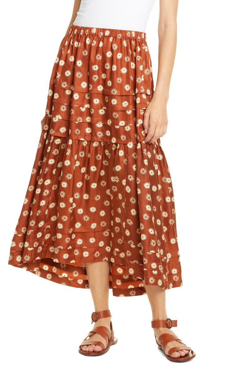 THE GREAT. The Frontier Silk Midi Skirt, Main, color, 800
