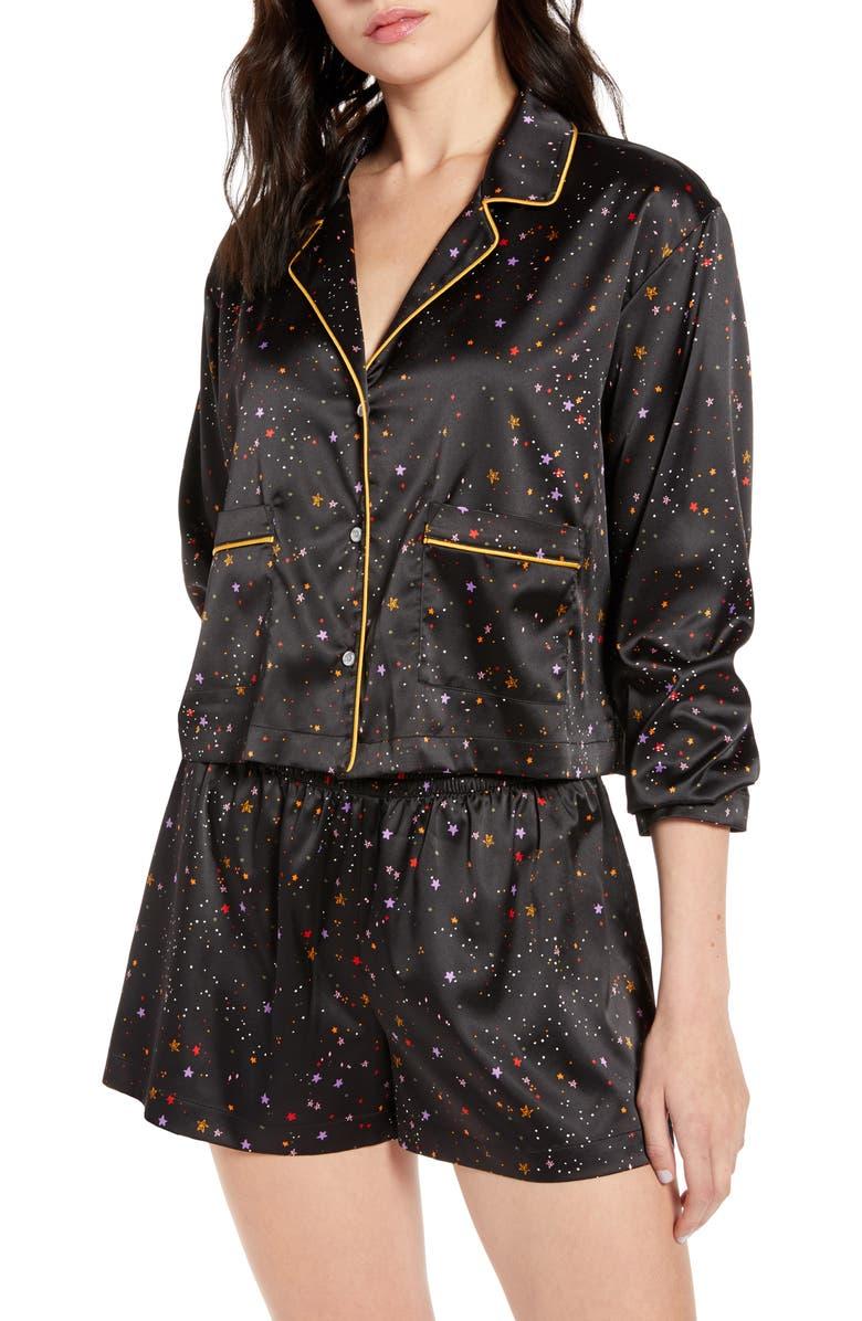 BP. x Claudia Sulewski Satin Short Pajamas, Main, color, BLACK STARS