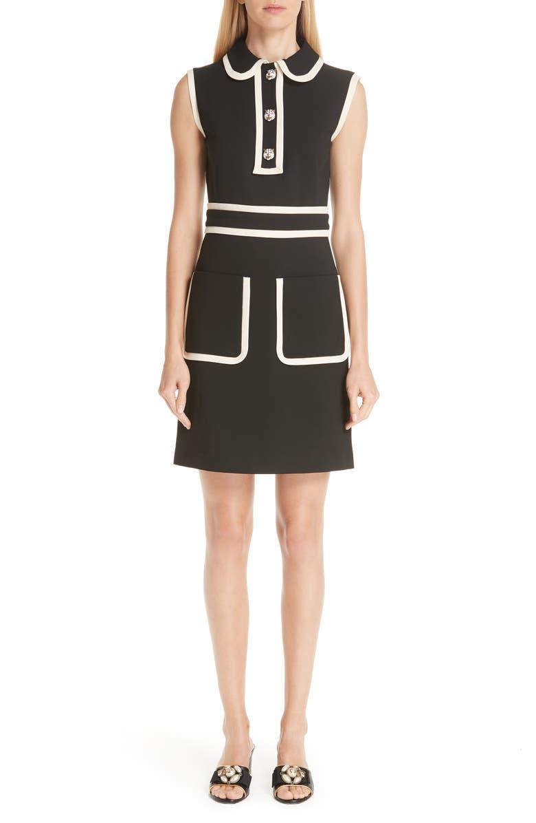 GUCCI Tiger Button Contrast Trim Dress, Main, color, 012