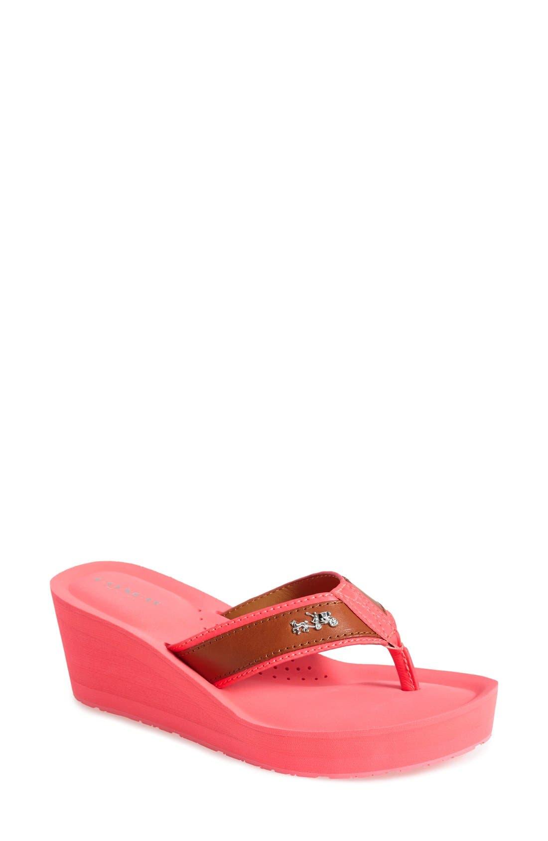 COACH 'Jolene' Wedge Thong Sandal