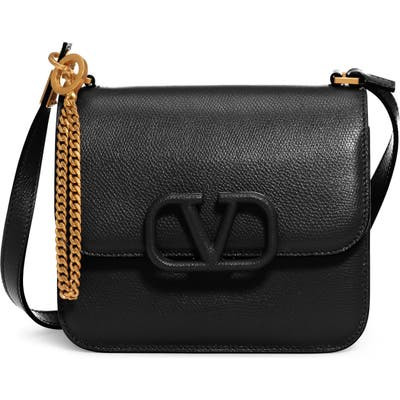 Valentino Garavani Small V-Sling Leather Shoulder Bag - Black