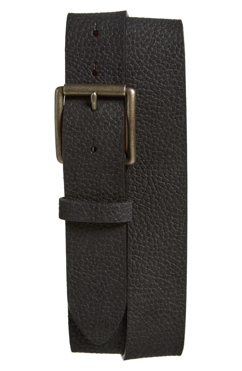 TORINO Leather Belt, Main, color, BLACK