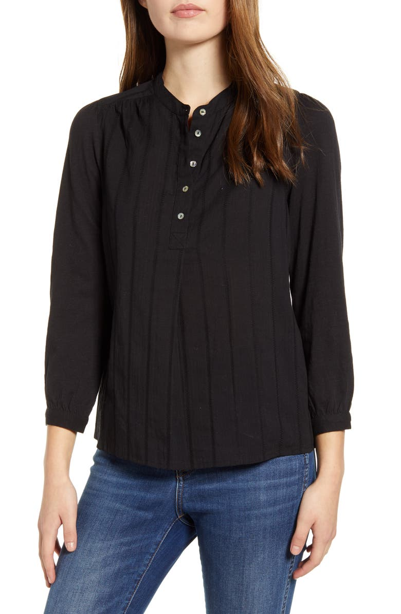 LUCKY BRAND Mixed Weave Button Front Top, Main, color, 001