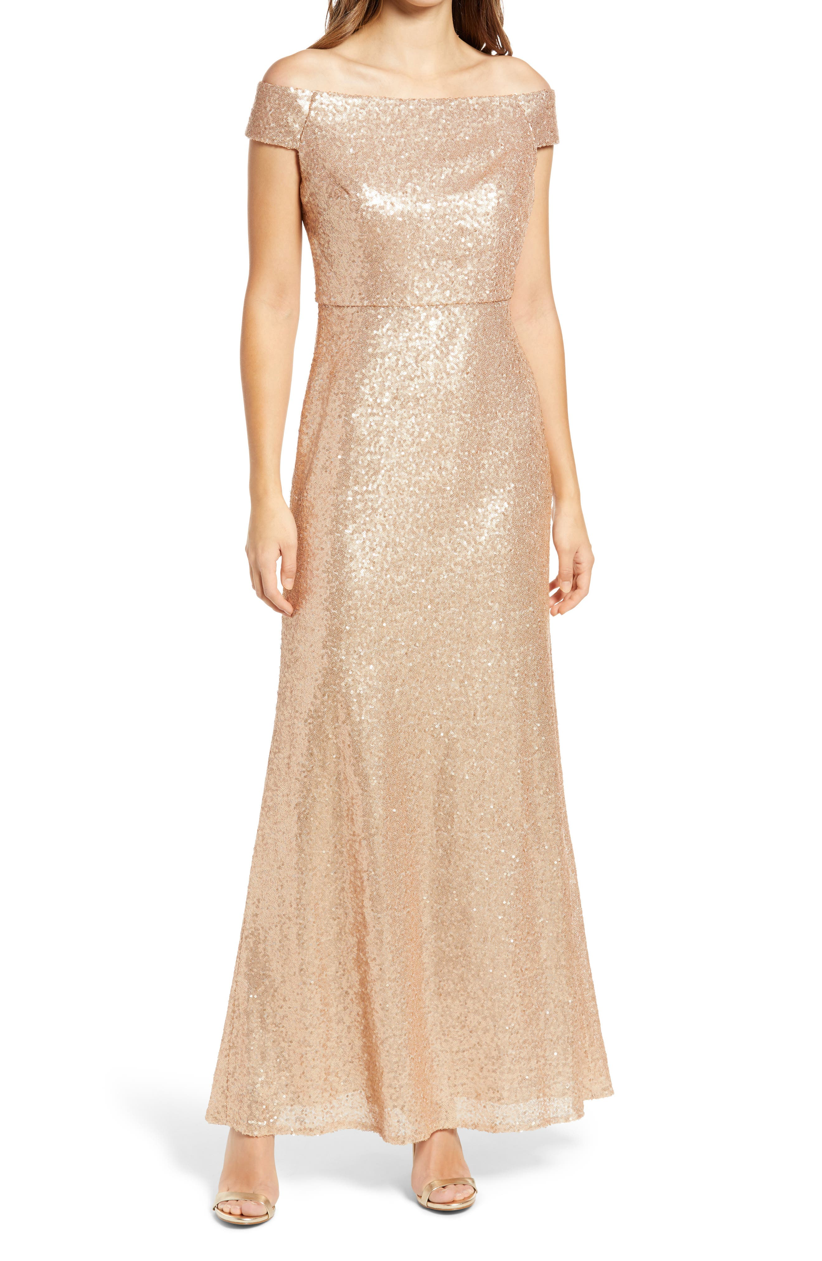 Sequin Off The Shoulder Gown