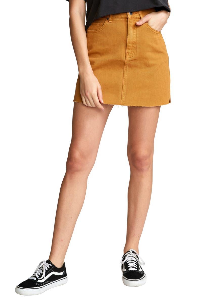 RVCA Rowdy Denim Miniskirt, Main, color, CATHAY SPICE