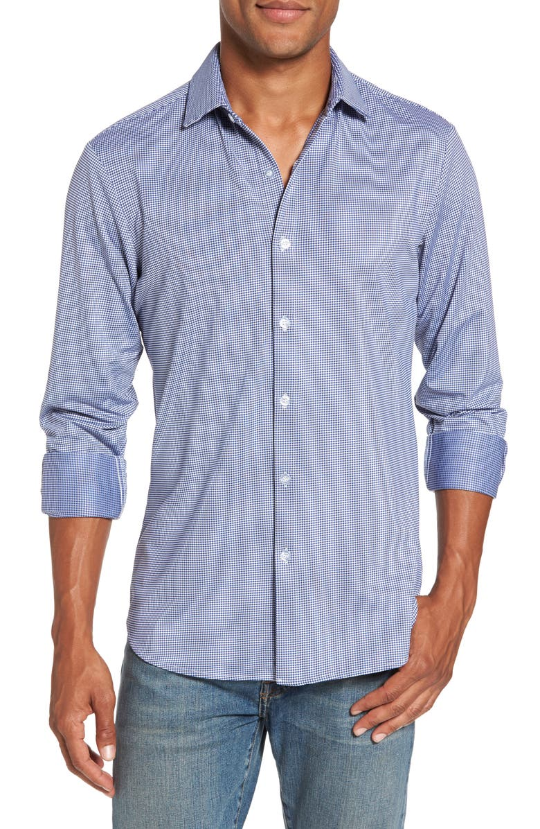 MIZZEN+MAIN Beckett Trim Fit Gingham Shirt, Main, color, 400