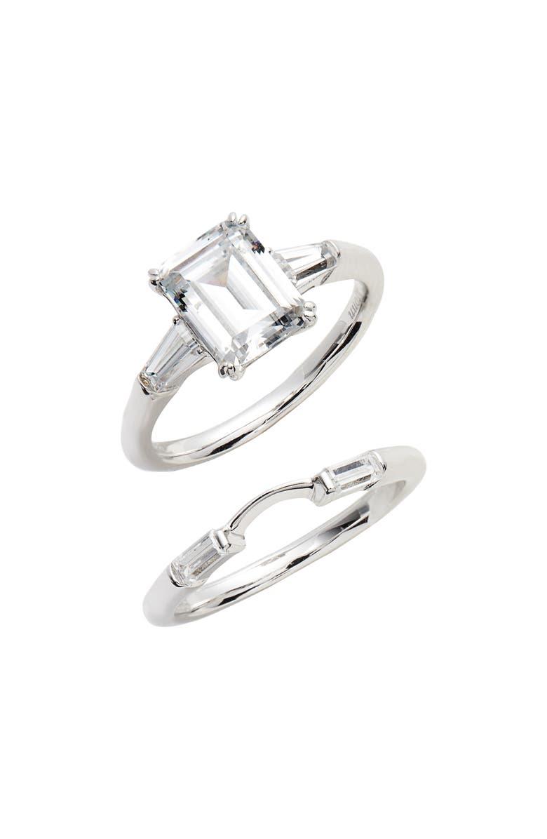 LAFONN Emerald-Cut Ring, Main, color, SILVER/ CLEAR