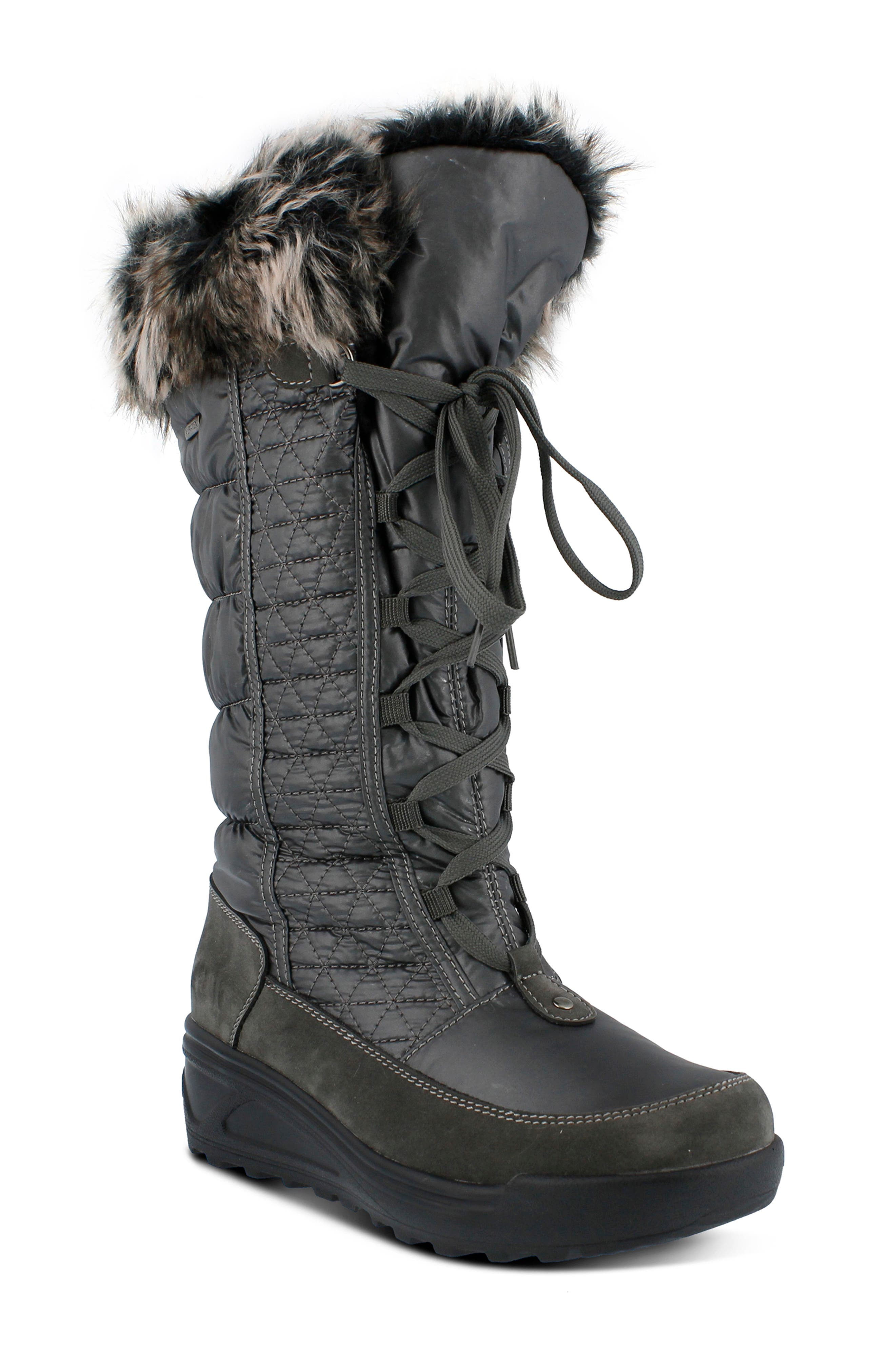 Spring Step Fotios Waterproof Faux Fur Boot - Grey