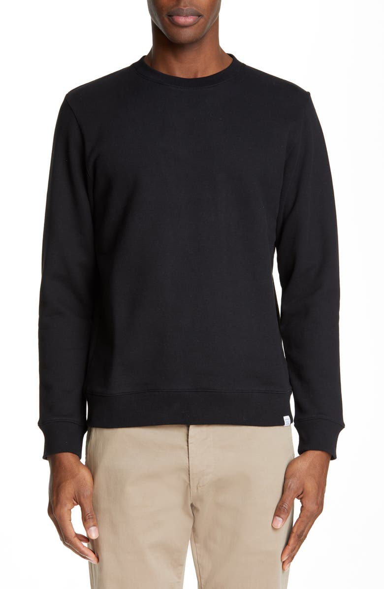 NORSE PROJECTS Vagn Crewneck Cotton Sweatshirt, Main, color, BLACK
