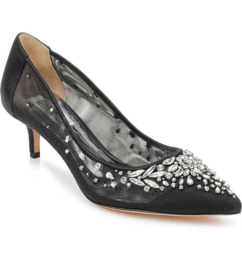 BADGLEY MISCHKA COLLECTION Badgley Mischka Onyx Kitten Heel Pump, Main, color, BLACK SATIN