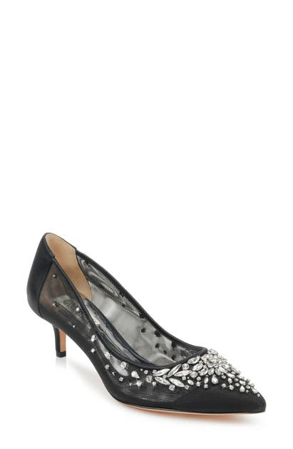 Badgley Mischka Pumps BADGLEY MISCHKA ONYX KITTEN HEEL PUMP