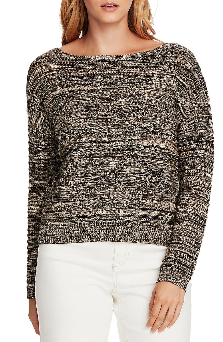 VINCE CAMUTO Popcorn Stitch Cotton Sweater, Main, color, 001