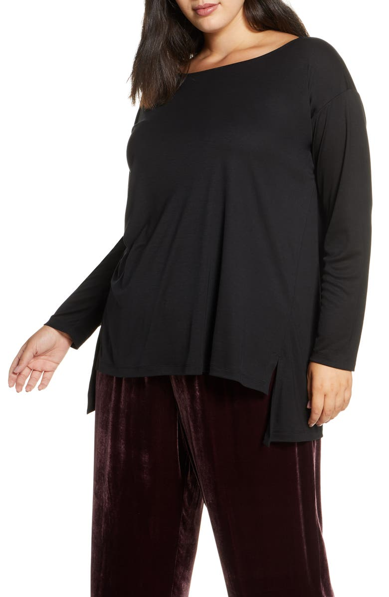 EILEEN FISHER Ballet Neck Tencel<sup>®</sup> Lyocell Top, Main, color, BLACK