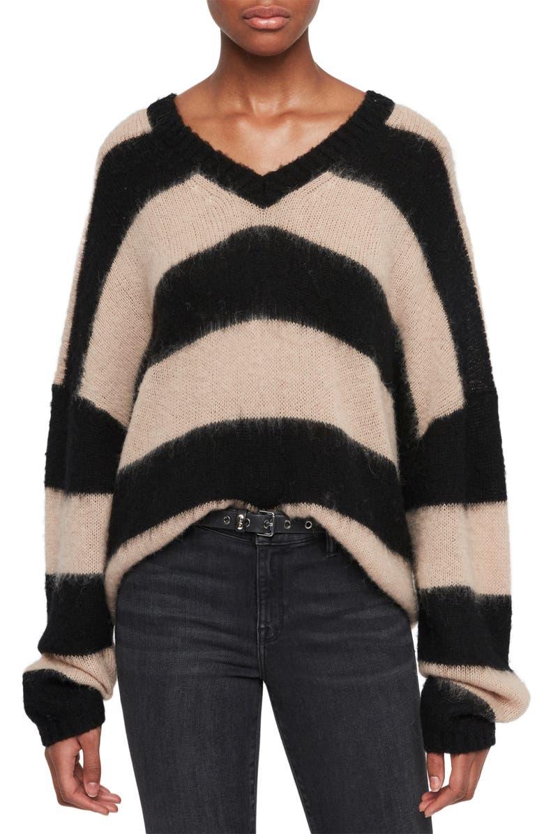 ALLSAINTS Lou Stripe V-Neck Pullover, Main, color, 001