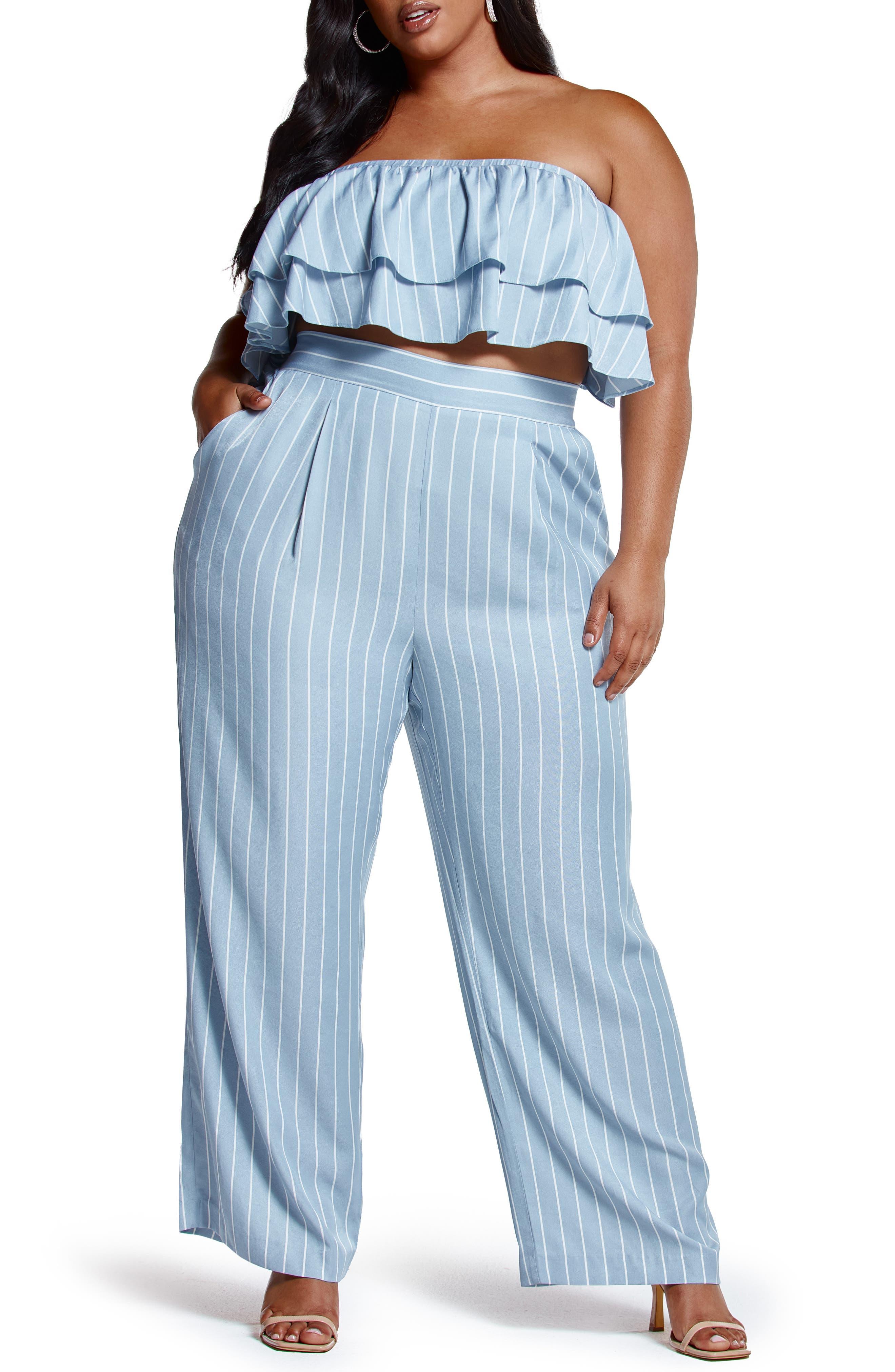 High Waist Stripe Flare Pants