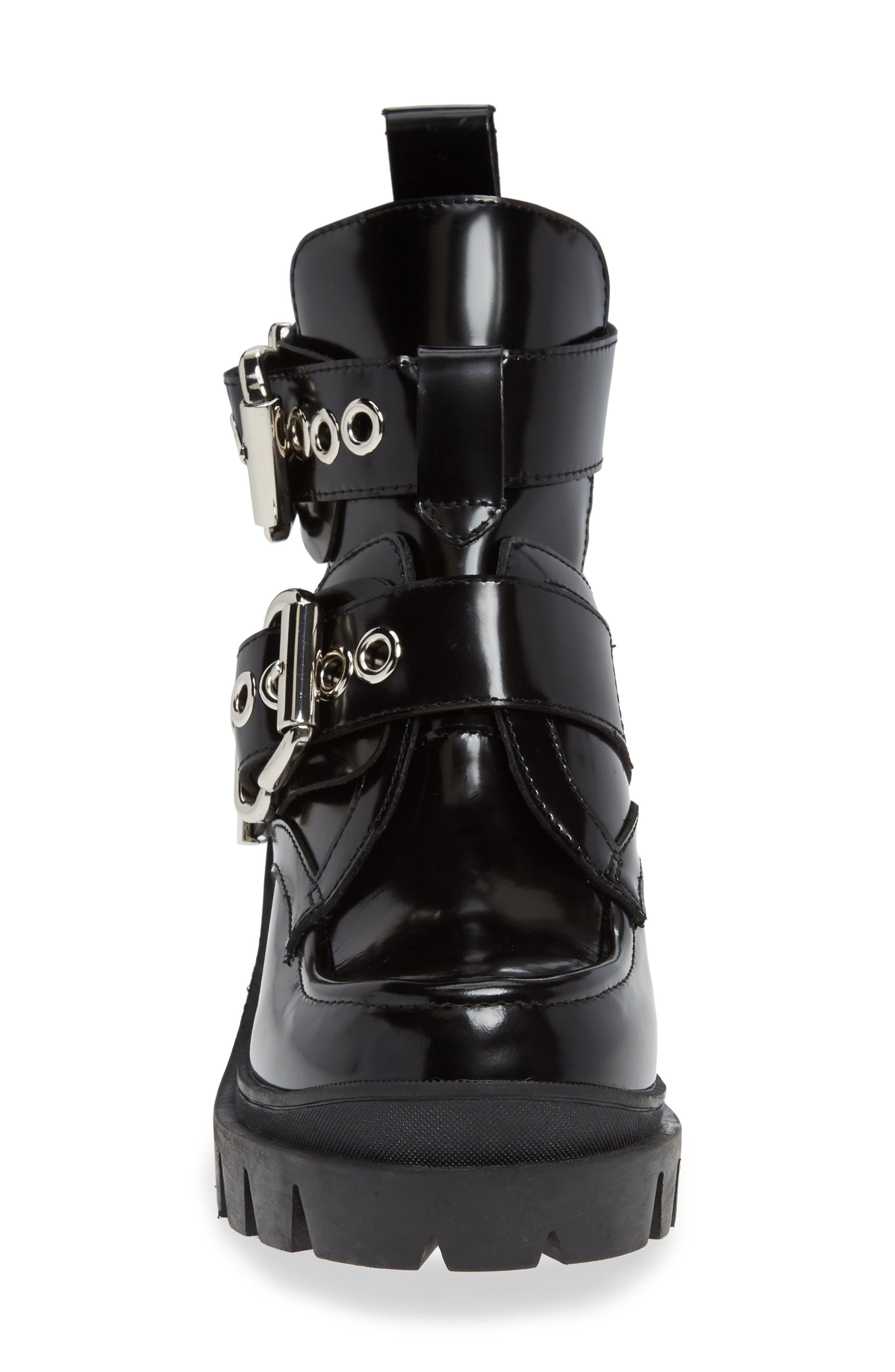 ,                             Craven Moto Platform Boot,                             Alternate thumbnail 4, color,                             BLACK LEATHER