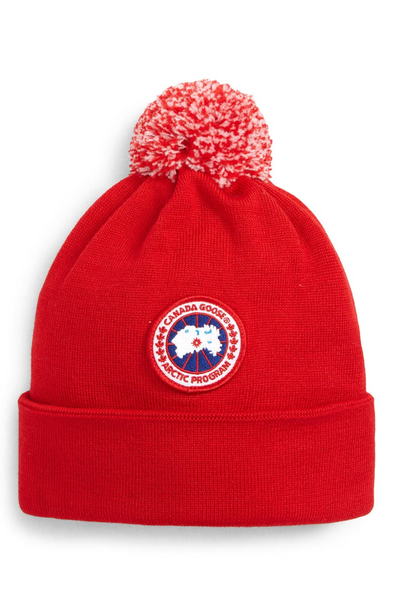 CANADA GOOSE Wool Pom Toque, Main, color, RED