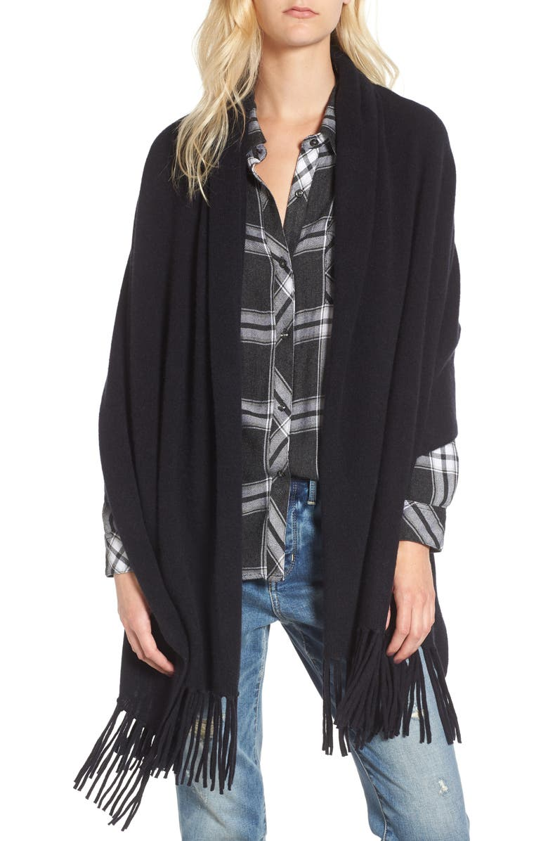 NORDSTROM Collection Fringe Cashmere Wrap, Main, color, 001