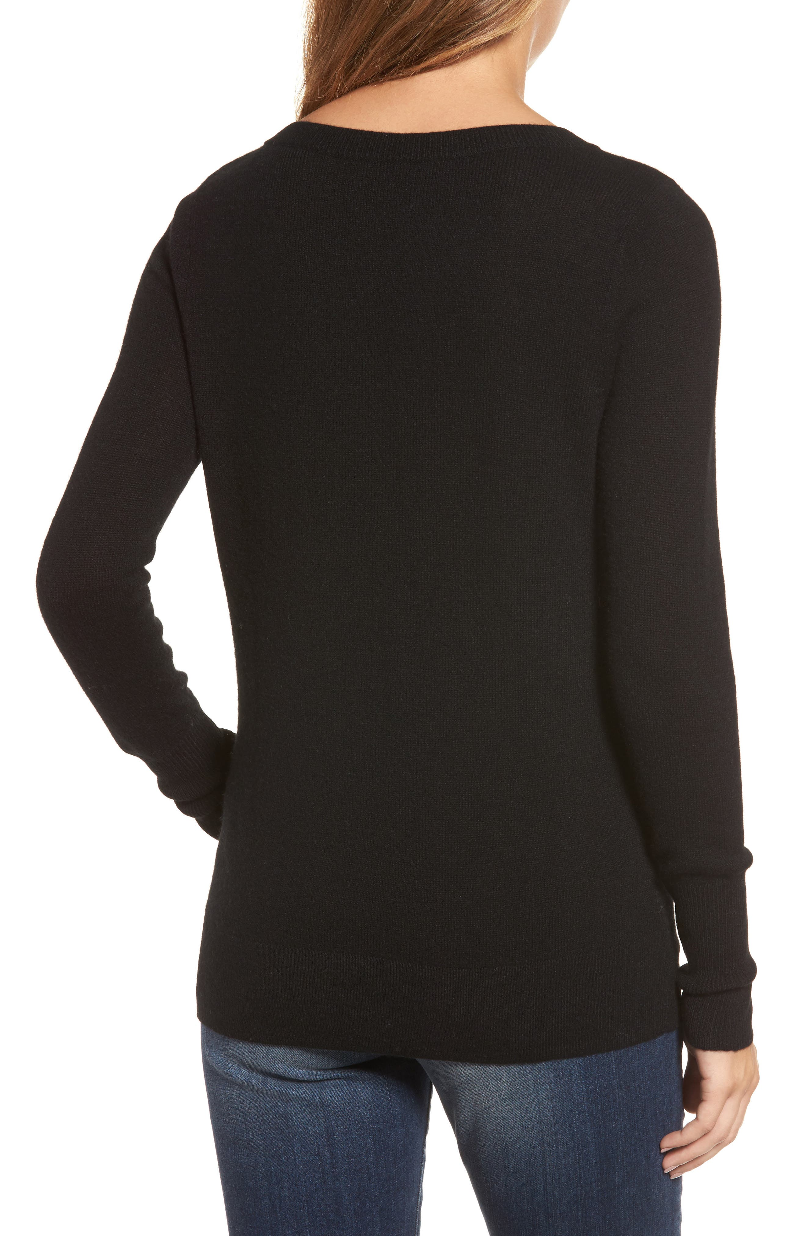 ,                             V-Neck Cashmere Sweater,                             Alternate thumbnail 77, color,                             001