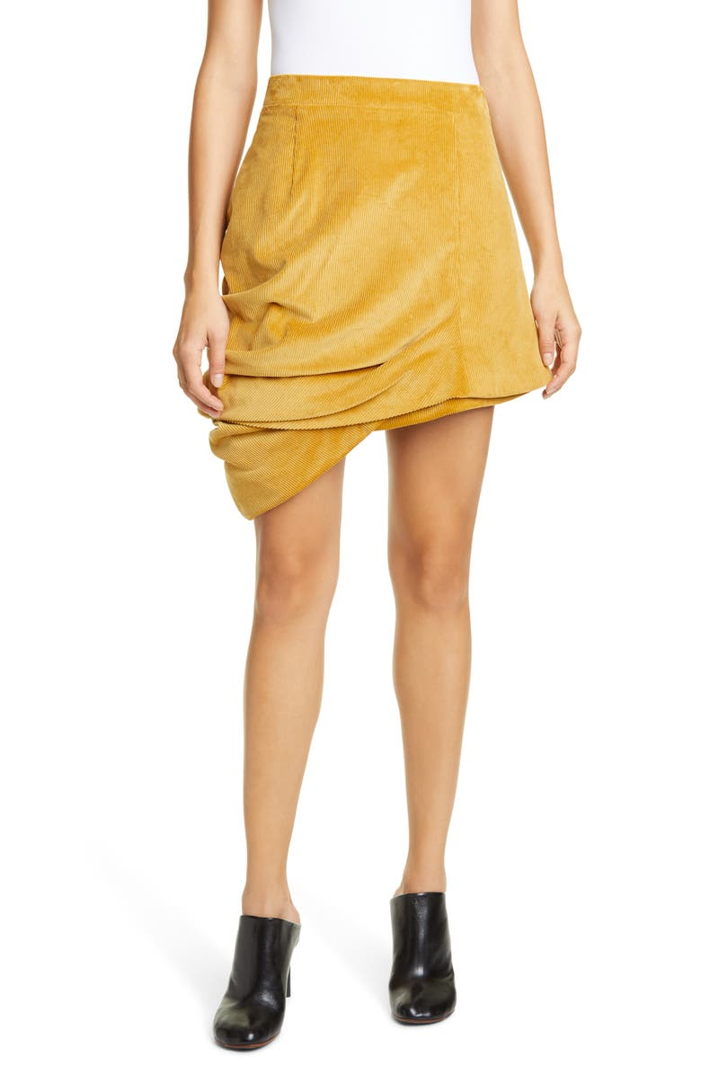 Y/PROJECT Asymmetrical Drape Corduroy Miniskirt, Main, color, MUSTARD YELLOW