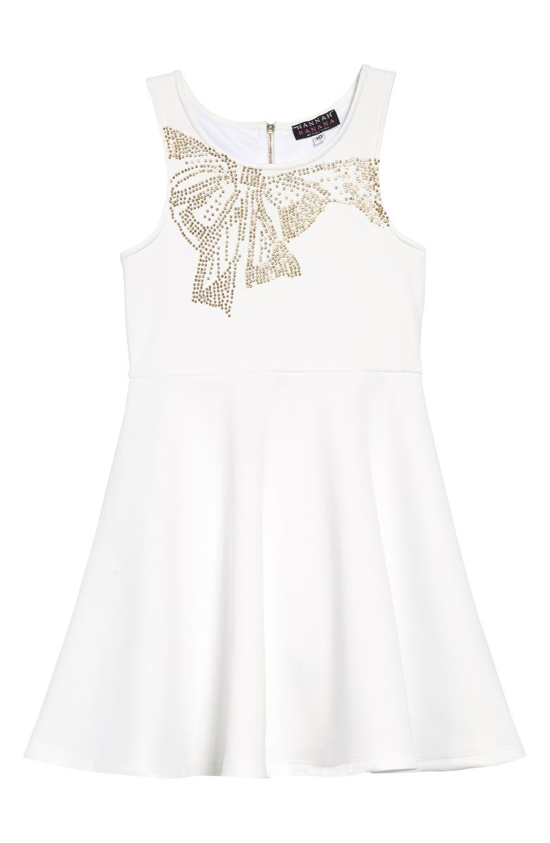 HANNAH BANANA Embellished Bow Scuba Fit & Flare Dress, Main, color, 900