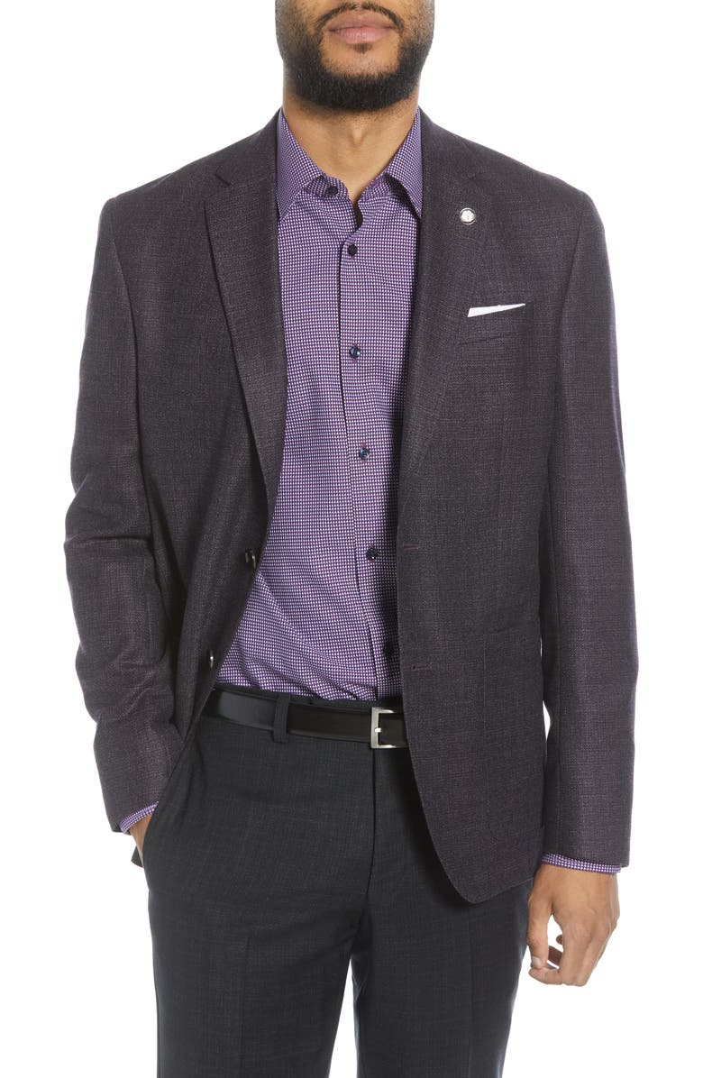TED BAKER LONDON Kyle Trim Fit Solid Wool Sport Coat, Main, color, MED PURPLE