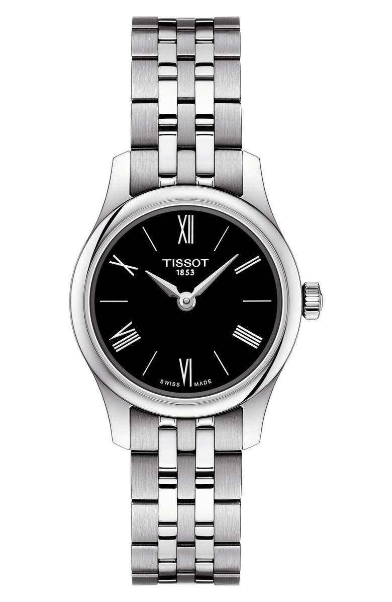 TISSOT Tradition 5.5 Lady Round Bracelet Watch, 25mm, Main, color, SILVER/ BLACK/ SILVER