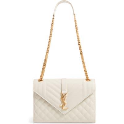 Saint Laurent Medium Mono Calfskin Leather Shoulder Bag - White
