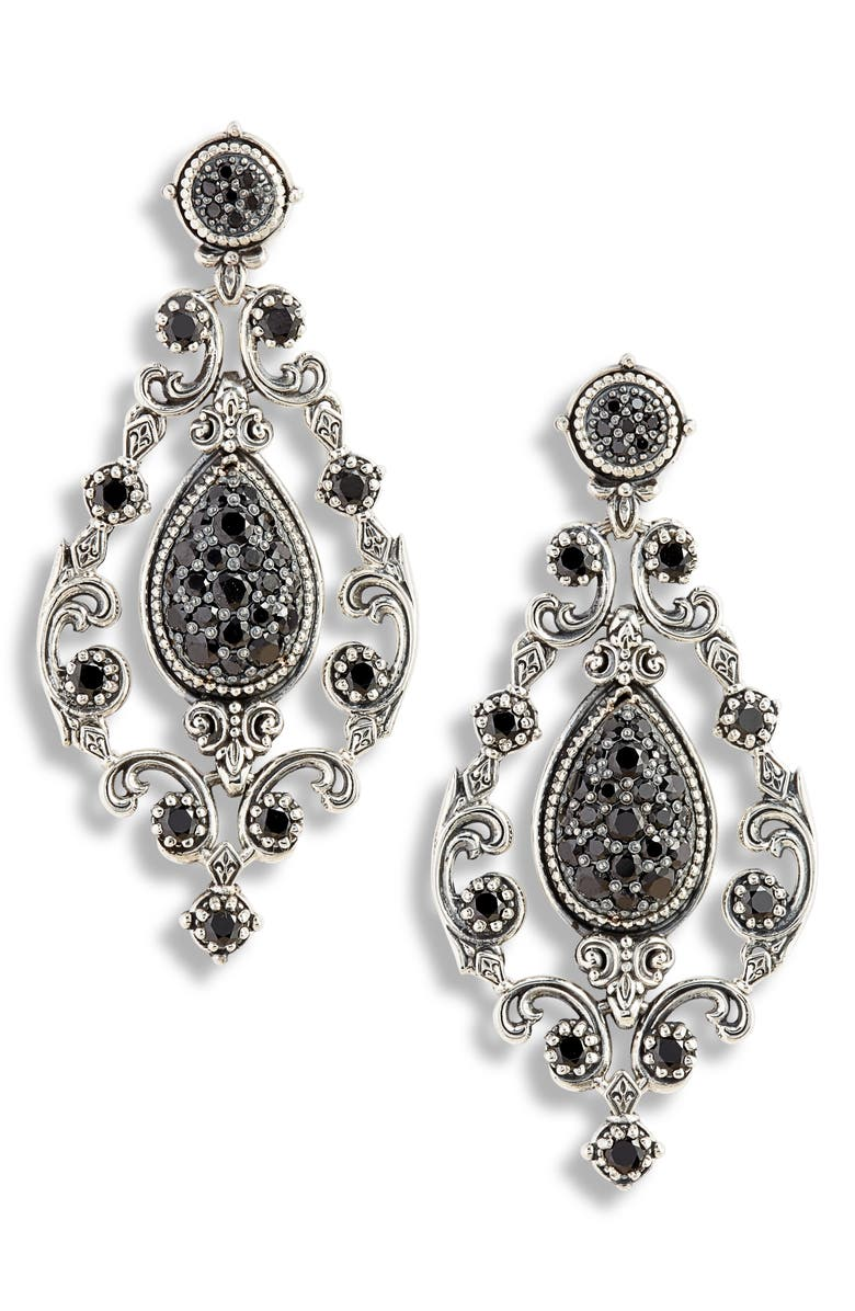 KONSTANTINO Circe Black Spinel Chandelier Earrings, Main, color, SILVER