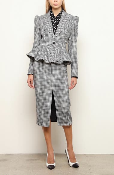 Glen Plaid Wool Peplum Jacket, video thumbnail