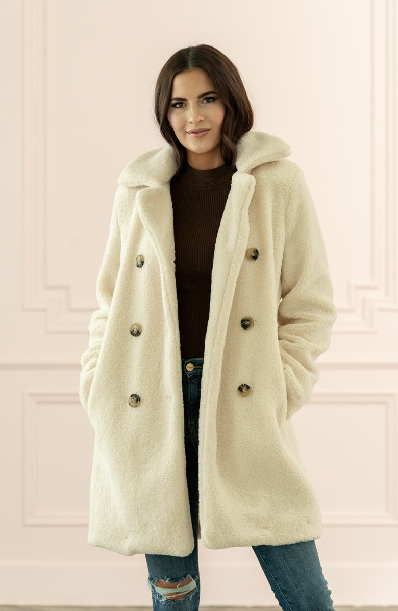RACHEL PARCELL Faux Shearling Coat, Main, color, IVORY