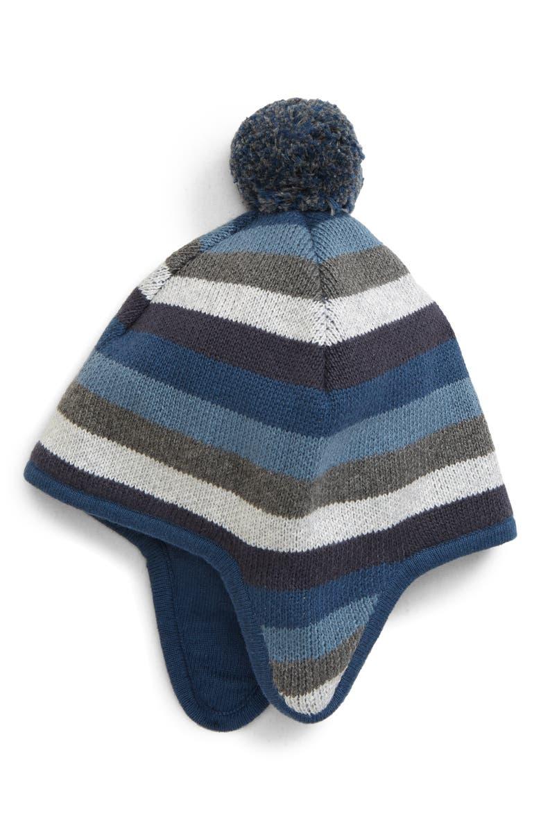 TUCKER + TATE Pompom Ear Flap Hat, Main, color, NAVY DENIM MULTI STRIPE