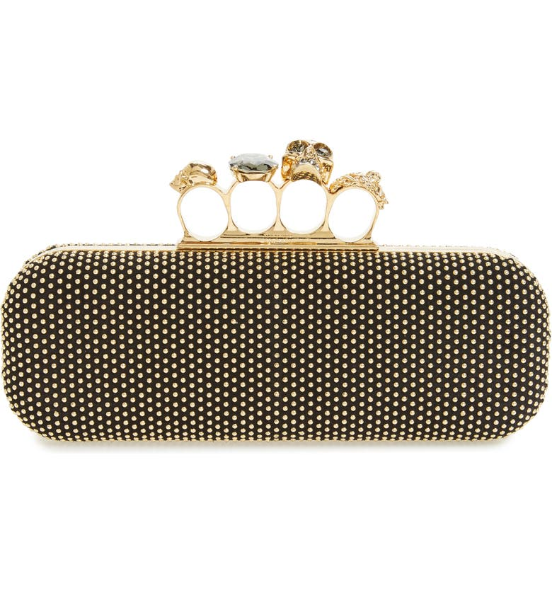 ALEXANDER MCQUEEN Knuckle Clasp Studded Box Clutch, Main, color, 001
