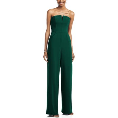 Dessy Collection Strapless Crepe Jumpsuit, Green