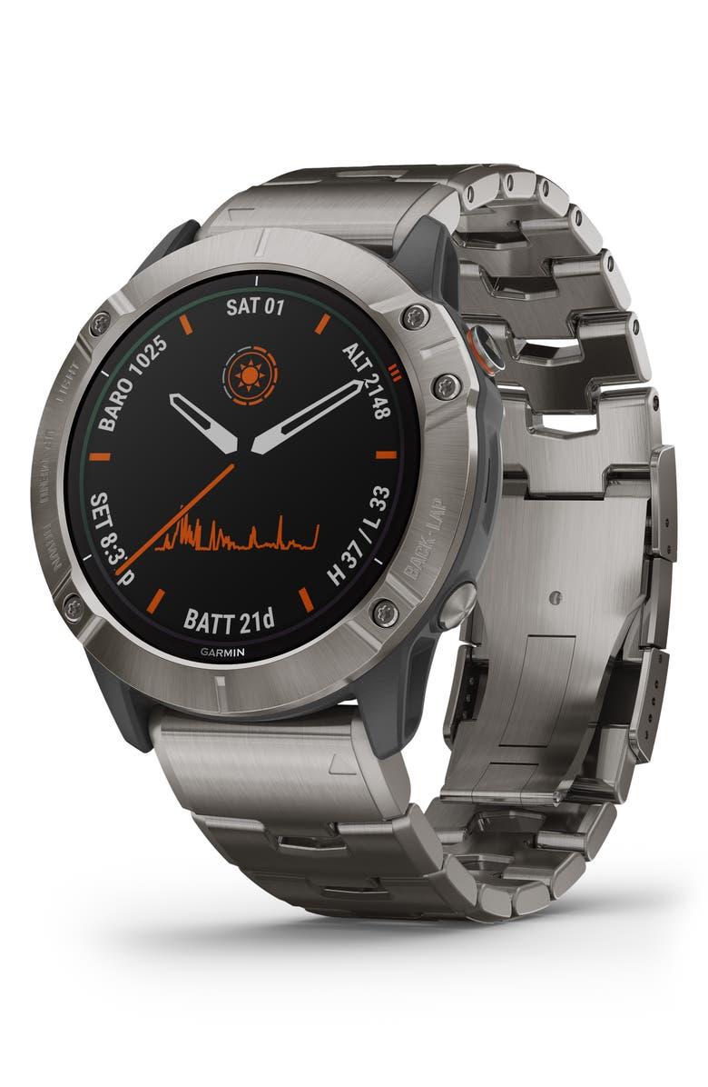 GARMIN fenix<sup>®</sup> 6X Pro Solar Edition Titanium Smart Watch, 51mm, Main, color, TITANIUM