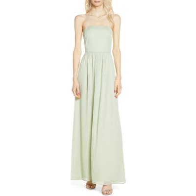 Wayf The Harlet Convertible Metallic Chiffon A-Line Gown, Green
