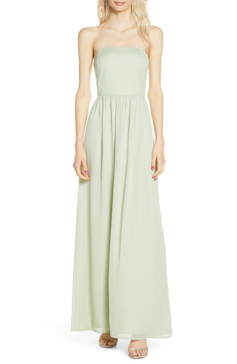 WAYF The Harlet Convertible Metallic Chiffon A-Line Gown, Main, color, SPEARMINT SHIMMER