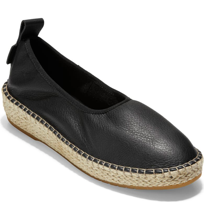 COLE HAAN Cloudfeel Espadrille, Main, color, BLACK LEATHER/ NATURAL FABRIC