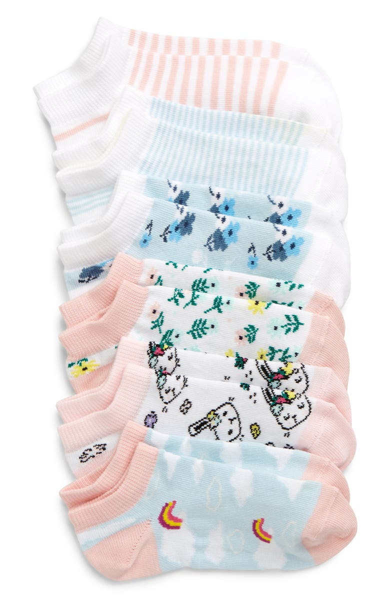 TUCKER + TATE Rainbow Clouds 6-Pack Ankle Socks, Main, color, 450