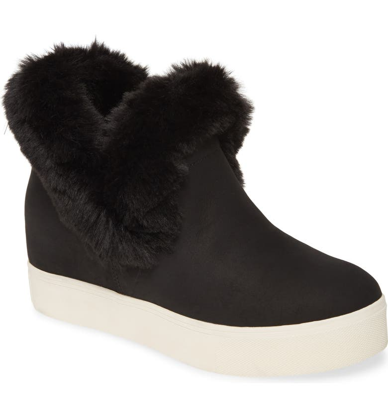 JSLIDES Faux Fur Lined Bootie, Main, color, BLACK SUEDE